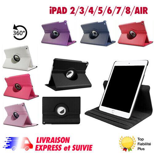 iPad: HOUSSE ETUI COQUE CUIR PU IPAD 2,3,4,5,6,7,8, AIR 1, AIR 2, AIR 3 ROTATIVE 360