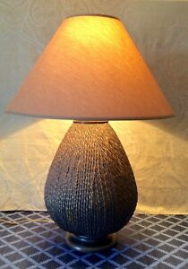 Brutalist-MCM-Art-Pottery-Textured-Table-Lamp-OVERSIZED-29-5-034-H-Excellent