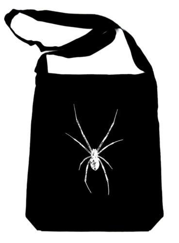 Black Widow Spider on Black Sling Bag Horror Book Bag Gothic Halloween Deathrock