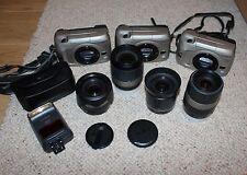 BIG MINOLTA VECTIS APS FILM SLR SET, 3 S-100 BODIES, 4 VECTIS LENSES, 1 FLASHGUN
