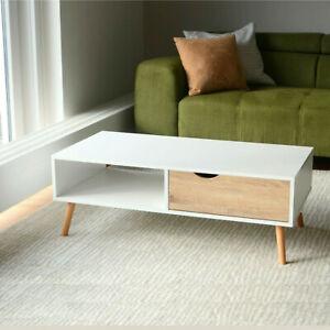 COUCHTISCH skandinavisch Weiß mit Schublade Eiche Wohnzimmertisch groß Sofatisch