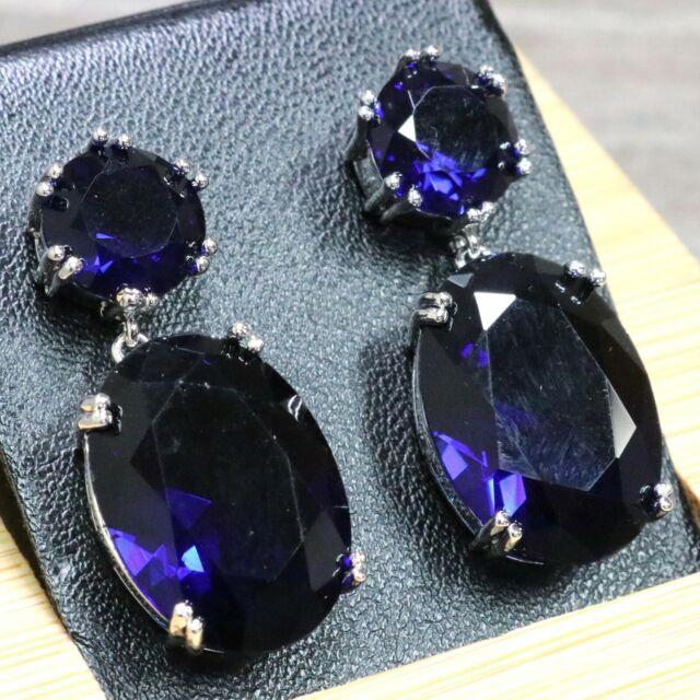 Large 7Ct Oval Blue Sapphire Earrings Women Wedding Jewelry 14K White Gold Plate