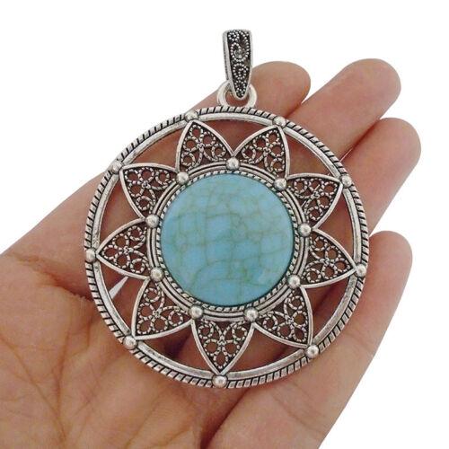 2pcs Antique Silver Large Faux Turquoise Stone Flower Round Charms Pendants