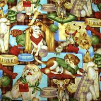 Cotton Fabric, Per Half Yard-1, Dog Print, Multicolor By Leslie Beck
