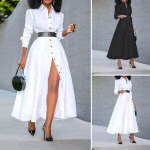 Mode-Femme-Chemise-Robe-Manche-Longue-Decontracte-lache-Loose-Dresse-Maxi-Plus