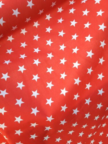POLYCOTTON FABRIC Blue Red Black Pink Orange Lime CUT OFF THE ROLL LARGE STARS