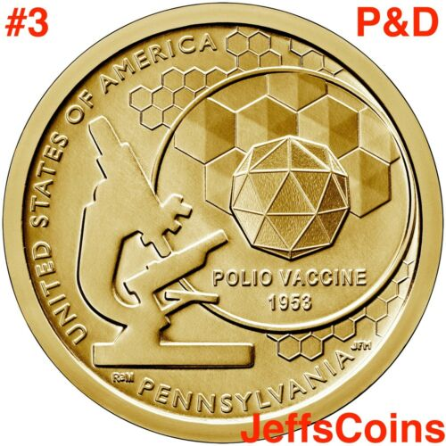 2019 PD POLIO VACCINE American Innovation Dollars Pennsylvania #3 P D BEST COINS