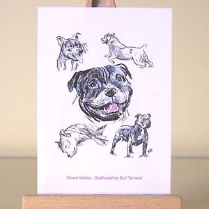Staffordshire-Bull-Terriers-Staffies-mixed-media-drawings-ACEO-Art-Card