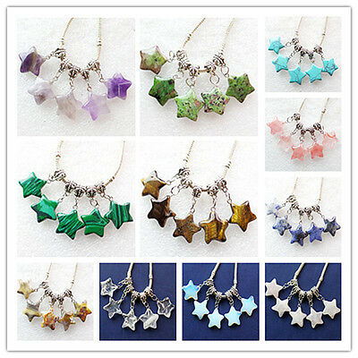 5pcs Mixed Gemstone Star Pendant Fit European Bracelet Necklace L083