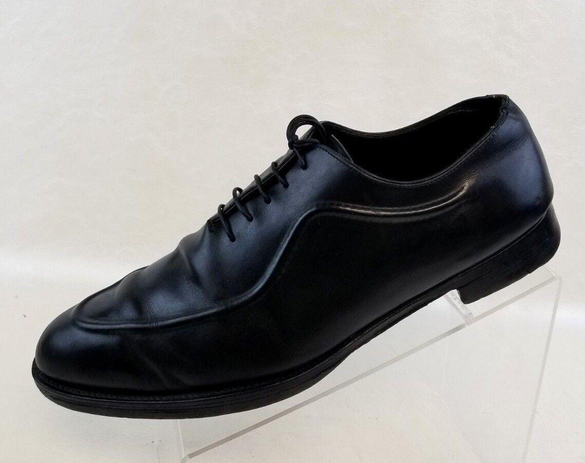 Ermenegildo Zegna Couture Derby Mens Black Apron Toe Leather shoes Size 11.5EE
