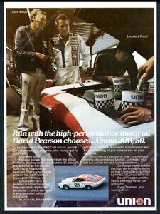 1976 David Pearson & NASCAR race car photo Union 76 motor oil vintage print ad