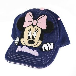 Minnie-Mouse-Girls-Denim-Strapback-Hat-Walt-Disney-Adjustable-Baseball-Cap-EUC