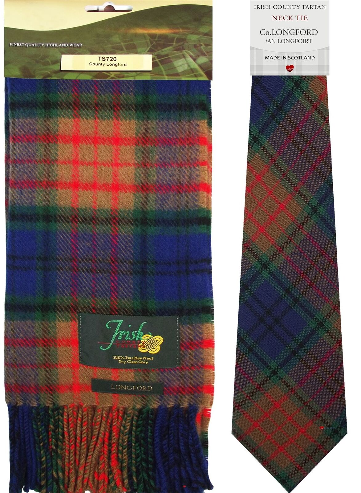 Irish County Longford Tartan Lambswool Scarf and Wool Necktie Gift Set