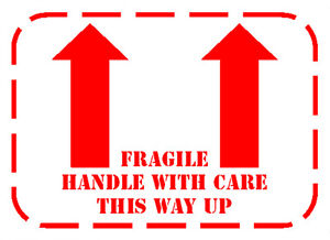 100 x fragile handle with care this way up arrow labels stickers