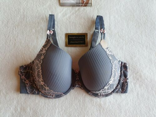 NEW M/&S ADORED ULTIMATE COMFORT FRENCH LACE FULL CUP T-SHIRT BRA 38C GREY MIX