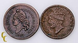 1863-Civil-War-Tokens-2-pc-Lot-Columbus-Storecard-For-Public-Accomodation-AG-VF
