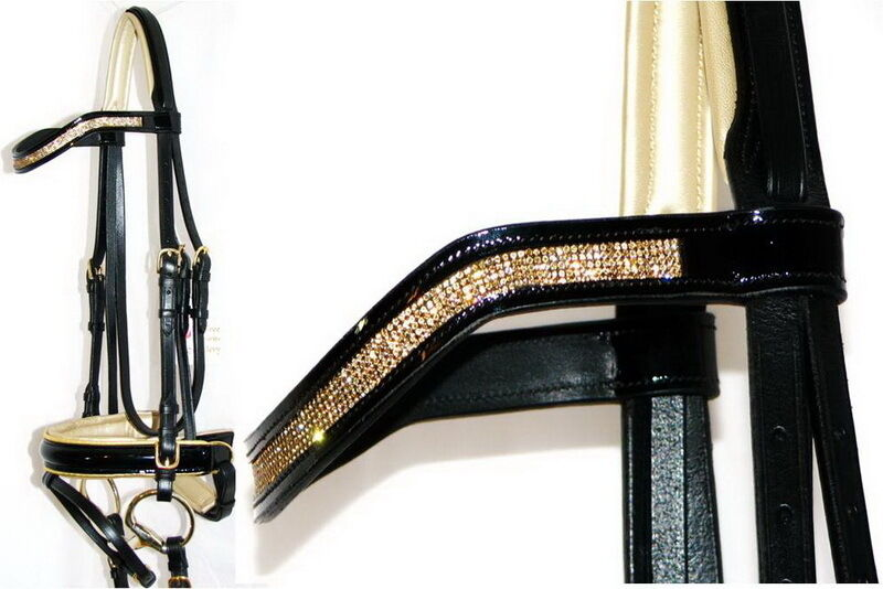 FSS VIBRANT 5 Row Tiny TOPAZ Crystal Bling PEARL gold PIPING Comfort Bridle GLOS