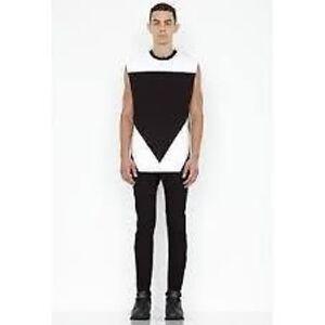 AQUA-By-AQUA-Sleeveless-Crane-T-Shirt-Black-White-Ladies-Size-Small-Box10-20-j