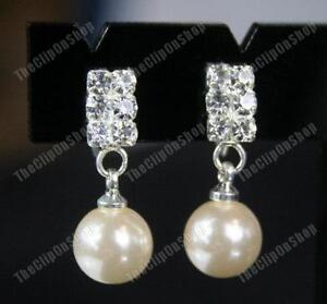 U-CLIP-ON-diamante-crystal-RHINESTONE-amp-PEARL-EARRINGS-small-drop-elegant-pearls