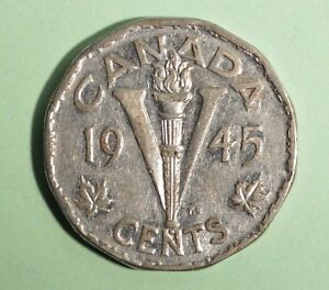 1945-Canada-5-Cent-Nickel-Circulated-Nice-Coin-Album-Collectable
