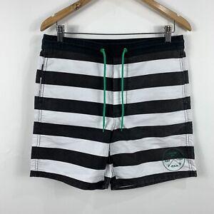 RVCA-Mens-Board-Shorts-Size-32-Swim-Shorts-Stripe-Pattern-Black-amp-White