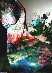 100-Silk-Scarf-175x50cm-Exquizite-Handmade-Silk-Art-034-Exotica-Floral-Songbrtf3-BR