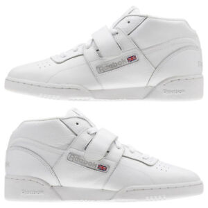 3ad8c60fa50 Men s Reebok Workout Clean Mid Strap Athletic Training Shoes