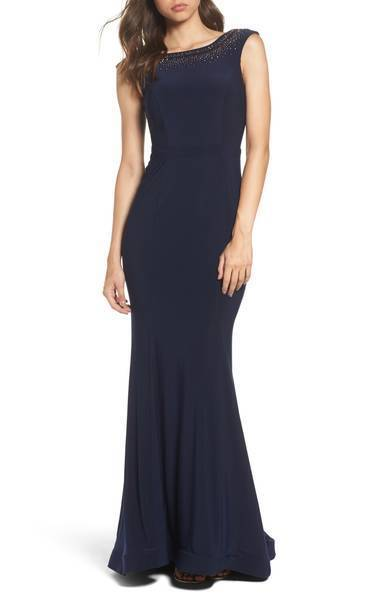 XSCAPE BEADED RUFFAL JERSEY TRUMPET NAVY GOWN DRESS sz 12
