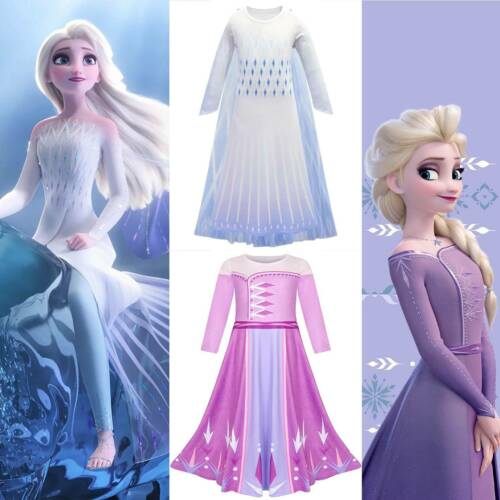 Elsa Daily Dress Girls Kids Frozen 2 Ice Queen Cosplay Costume Carnival Party UK