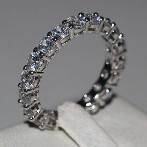 Fashion-Jewelry-Women-4mm-Diamonique-Cz-925-Silver-Engagement-Wedding-Band-Ring