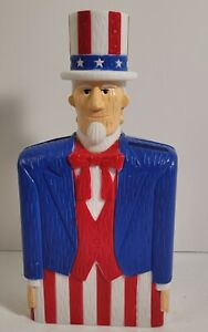 JSNY UNCLE SAM COIN BANK PLASTIC CHARACTER VINTAGE PATRIOTIC AMERICA USA FLAG