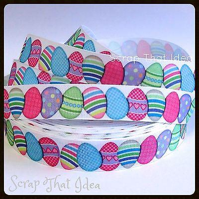 "Easter Eggs  RIBBON. 7/8"" Grosgrain. WHITE.  Scrapbooking/Cake/Craft. Large Eggs"