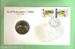 C17-PNC-STAMPED-COVER-amp-5-COIN-2005-AUSTRALIAN-TENNIS-OPEN