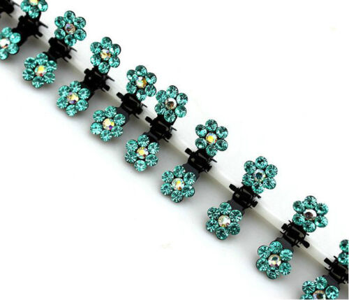 6//12 PCS Girls Sweet Rhinestone Crystal Flower Mini Hair Claws Clips Clamps BU