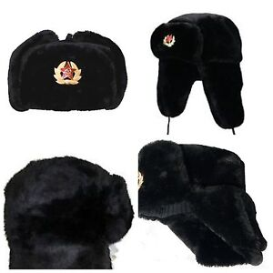 2fc5ba02862 RUSSIAN TRAPPER HAT WITH SOVIET BADGE FAUX FUR USHANKA COSSACK FLAPS ...