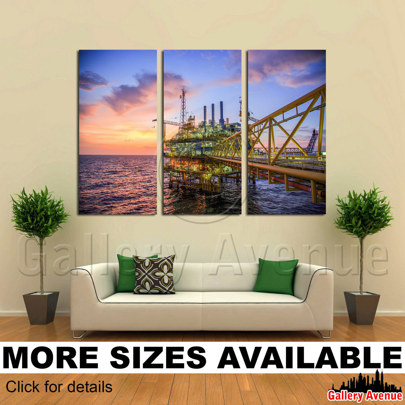 3 Panel Canvas Bild Drucken - Oil and gas platform in the sea 3.2