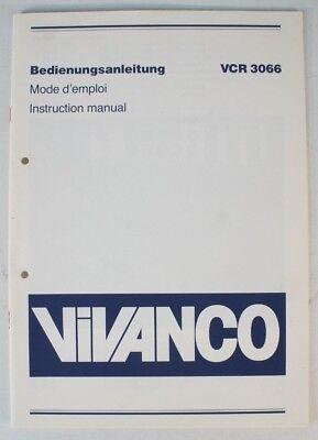 Intellektuell Vivanco Vcr 3066 Mode D'emploi Instruction Manual Bedienungsanleitung B7443 Tv, Video & Audio