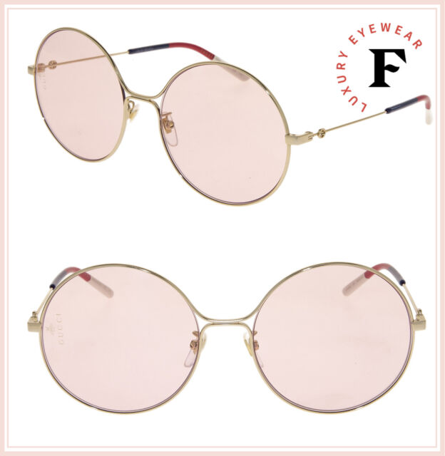 GUCCI 0395 Gold Pink Sylvie Round Metal Retro Sunglasses GG0395S Bumble Bee