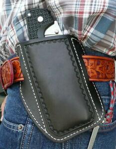 XXX-Large-Leather-Cross-Draw-Pocket-Knife-Sheath-Spyderco-Cold-Steel-Ruffs-Black