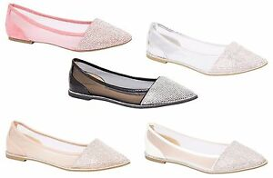 New-Womens-Ballerina-Dolly-Pumps-Ladies-Flat-Diamante-Mesh-Party-Sandals-Shoes