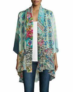 NWT-Johnny-Was-Mixed-Print-Tie-Front-Kimono-Jacket-Sz-PS-Pockets-Silk-Multi