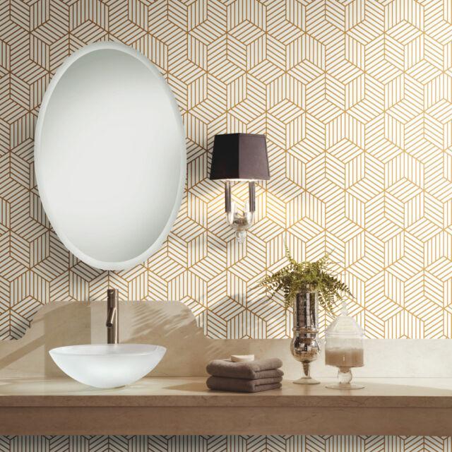 Geometric Stripe Hexagon Peel And Stick White Gold Mid Century Modern Wallpaper For Sale Online