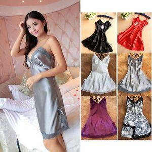 694b3d0439 Image is loading Women-Night-Bath-Sexy-Satin-Silk-Nightgown-Camisole-