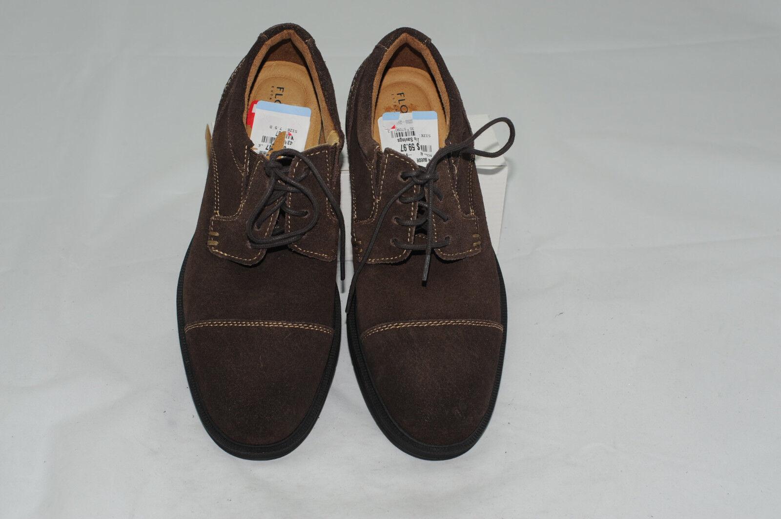 NWT Florsheim Men's Suede Leather Cap Toe Derby Dress shoes 7.5 D