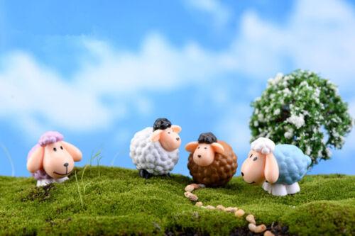 2 Stücke LongEar Schafe Miniatur Fee Garten Ornament Deko Puppenhaus Handgemacht