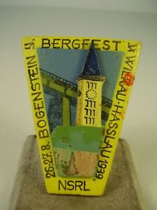 Antikes Abzeichen Bogenstein Bergfest Wilkau Hasslau 1939
