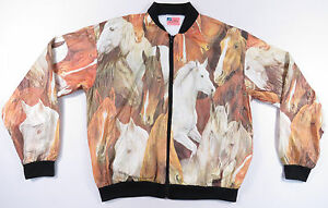 VTG 80S 90S EQUESTRIAN HORSE ALL OVER PRINT OLEFIN TYVEK JACKET RODEO EUC S