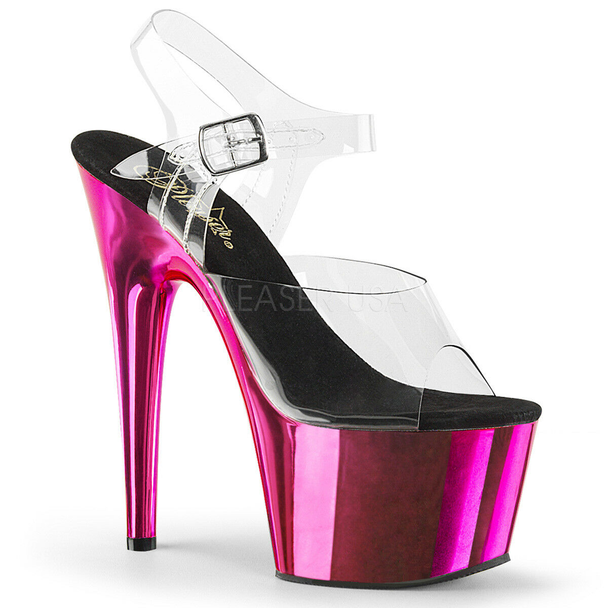 Pleaser ADORE-708 Women's Clear Hot Pink Chrome Heel Platform Ankle Strap Sandal
