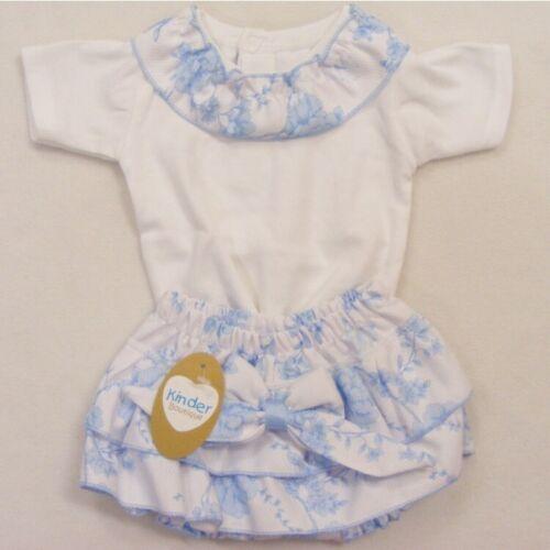 Nouveau SS19 KINDER BOUTIQUE bébé fille bleu//blanc Jam Pantalon /& top 3-24 mois