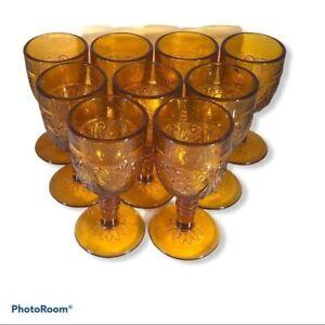 Vintage Cordial Amber Glasses - 9 Glasses Total